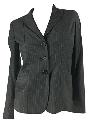 Elie Tahari Women's Bailey Pinstripe Wool Blend Suit Jacket Blazer, Black/Creme, 0 -