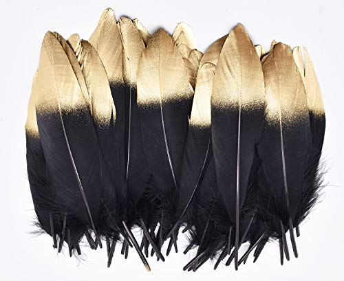 (TommoT 50pcs Gold Dipped Natural Black Feathers for Crafts and Art Home)