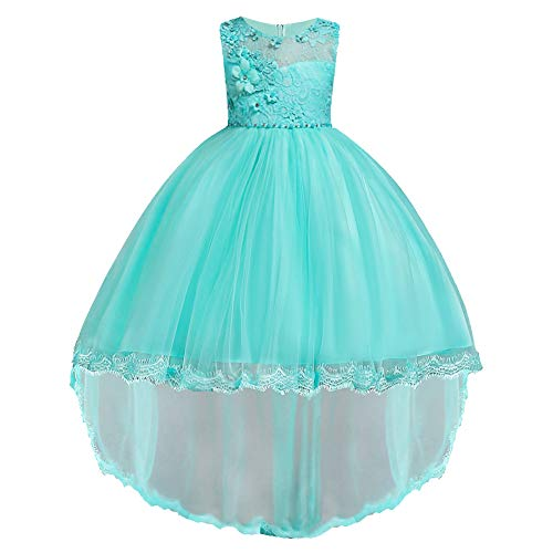 HUANQIUE Pageant Party Dresses Hi-Low Lace Flower Girl Dress LightBlue 11-12 Years