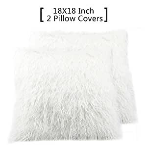 FURTALK Decorative Faux Fur Throw Pillow Covers Case Cushion,18 x 18 Inch(Two Inory White Pillow Covers without inset)