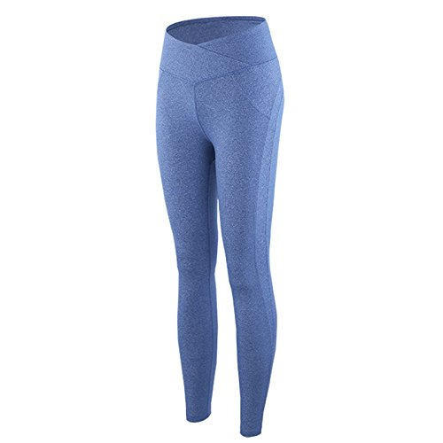 Langmotai YogahosenHohe Taille Hose m Feld und Sport Yoga Hose mit elastischen hohe Taille Fitness Hose, Hellblau, S