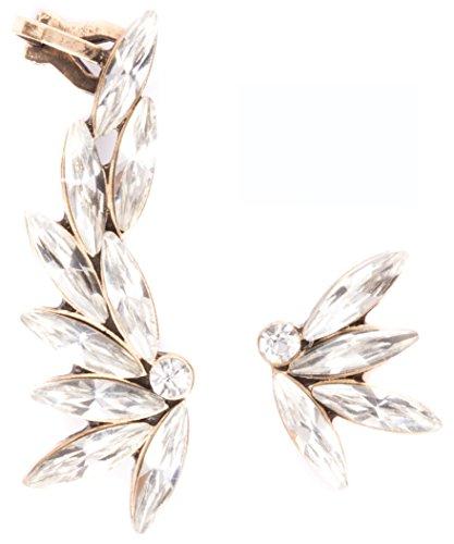 Asymmetrical Ear Cuff Earrings in Clear Colour | Statement Ear Crawlers Crystal Earrings in Vintage Gold nickel free