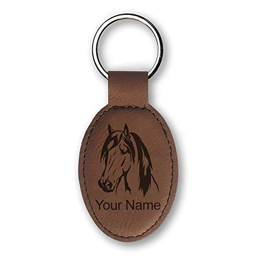 Oval Keychain, Horse Head 1, Personalized Engraving Included (Dark Brown)