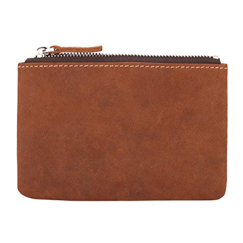 Coin Purse Pouch Fmeida Men's Leather Zipper Change Wallet (Red Brown)