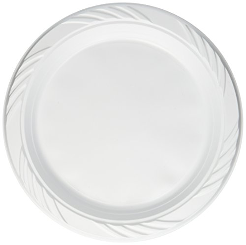 Blue Sky 200 Count Disposable Plastic Plates, 9 Inch, White