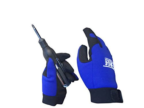 c Leather Palm Spandex Back Velcro Wrist Safety Work Glove (Large, Blue_All_Purpose) (Steel Palms Leather)