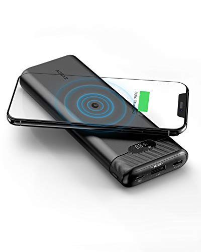 AIDEAZ Wireless Power Bank 20000mAh Portable Charger, 18W PD USB C Power Bank Charger, LCD Display, PowerOrigin Air External Battery Pack Compatible with iPhone Xs Max/X/8 and Samsung Galaxy etc.