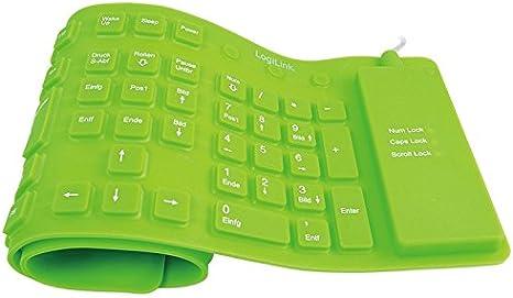 LogiLink ID0037 - Teclado Flexible de Silicona USB & PS/2, Verde