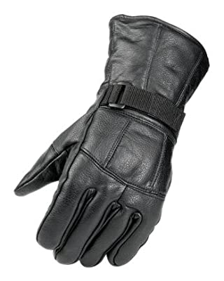 Raider Black Leather Motorcycle Riding Gloves