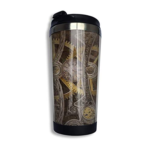 Stainless Steel Coffee Mugs Retro Steampunk Backdrop Old Metal Gear Clock Travel Coffee Thermal Mug 10 Oz (400ml) Insulated Cup Perfect for Travel, Camping, Hiking, The Beach and Sports
