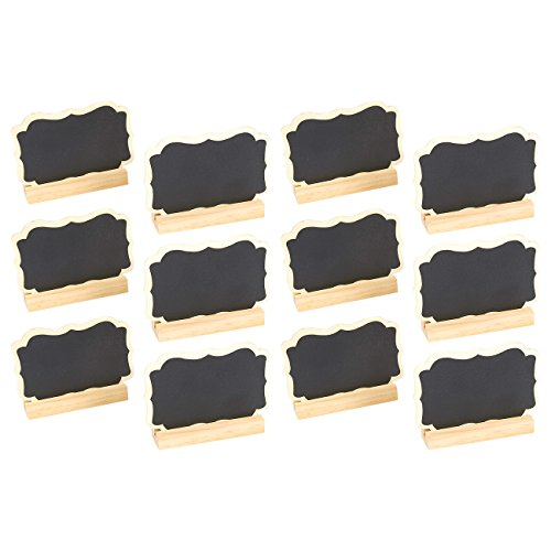 Juvale Set of 12 Mini Chalkboard Signs Stand - Chalkboard Place Cards Message Board Weddings, Table Top Numbers, Food Signs, Kids' Crafts Event Decoration, 3.5 x 2.25 x 0.63 inches]()