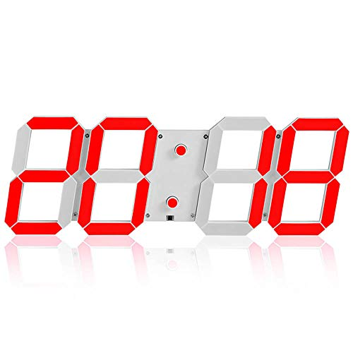 QWER Alarm Clock Multifunction 3D Digital LED Wall Clock Remote Control Stereo Clock Applicable to The Sports Hall Lobby Event Meeting Room 45X15x1.5Cm,3