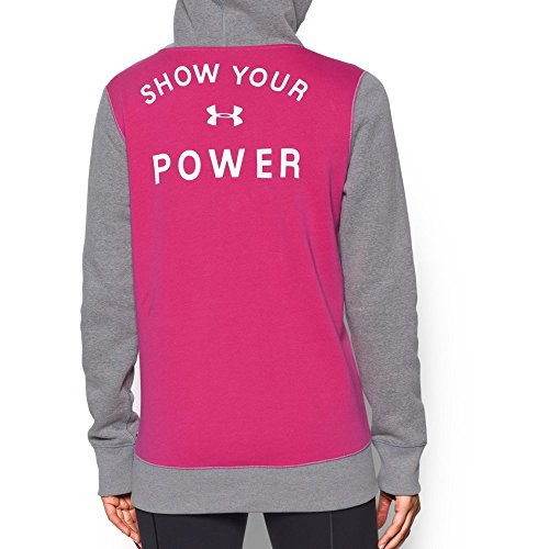 Under Armour Womens Pip Hoodie, True Gray Heather/Tropic Pink, Xx-Large