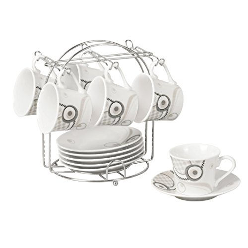 Lorren Home Trends 13-Piece Porcelain Espresso Cup Set with Iron Stand, Geometrical Design, Black, White and Grey