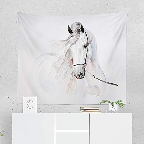 - White Horse Tapestry Wall Hanging Equestrian Equine Horses Tapestries Decor College Dorm Living Room Art Gift Bedroom Dormitory Bedspread Small Medium Large - Printed in the USA