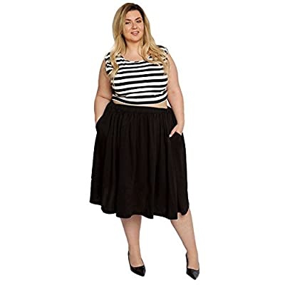 Astra Signature Women's Plus Size Elastic Waist Pleated Chiffon Midi Circle Skirt with Pocket
