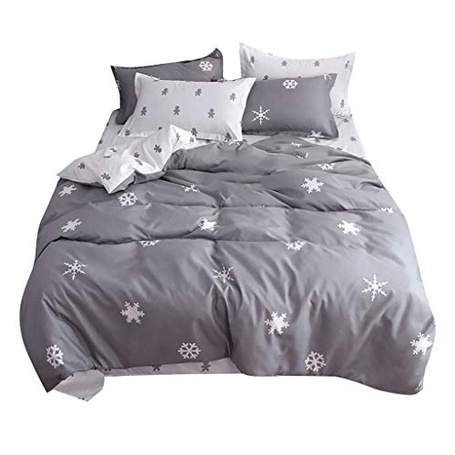 - Togethor Duvet Cover Set King Size with Snow Printing, Premium Bamboo Sheets - Deep Pocket Bed Sheet Set - Ultra Soft & Cool Breathable Bedding -