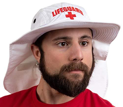 Lifeguard Hat w/Neck Cape | UV Sun Protection 45+ Bucket Hat Uniform Men Women - White ()