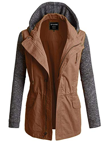 (TOP LEGGING TL Women's Versatile Militray Anorak Parka Hoodie Jackets with Drawstring 495_ Taupe)
