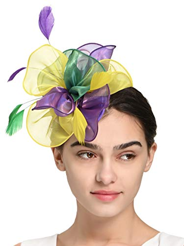 Fascinators Headband Tea Party Hats for Women Royal Wedding Hat Feather Mesh Hair Clip (2-Green and Purple and Yellow)
