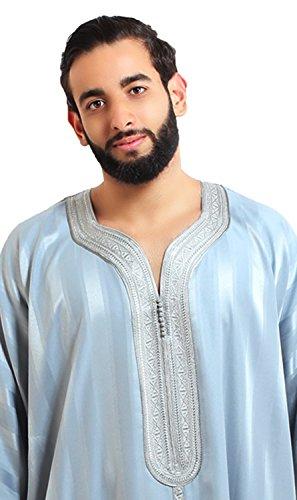 Moroccan Men Caftan Handmade Gandoura Cotton Blend Delicate Embroidery Grey by Moroccan Men Clothing (Image #1)