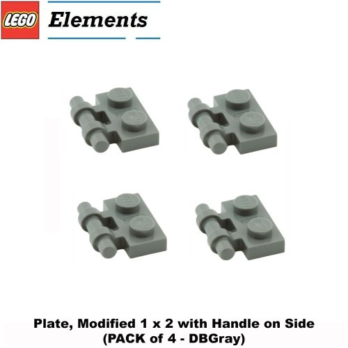 Lego Parts: Plate, Modified 1 x 2 with Handle on Side (PACK of 4 - DBGray)