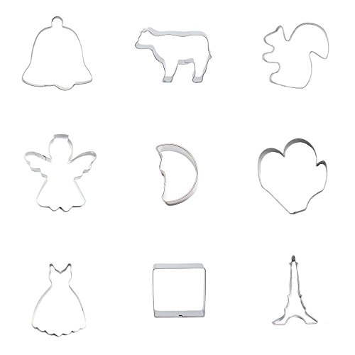 9 Pieces Cookie Cutter Biscuit Eiffel Tower Square Skirt Dress Paw Claw Moon Half Elf Angel Squirrel Cattle Ox Bull Christmas Xmas Bell
