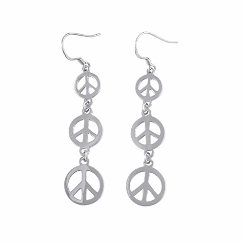 (Sterling Silver Dangling Peace Sign Earrings)