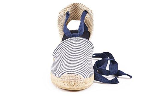Viscata Escala 2,5 Kile, Blød Ankel-tie, Lukket Tå, Klassisk Espadriller Hæl Fremstillet I Spanien Marineblå Hvid Stribe
