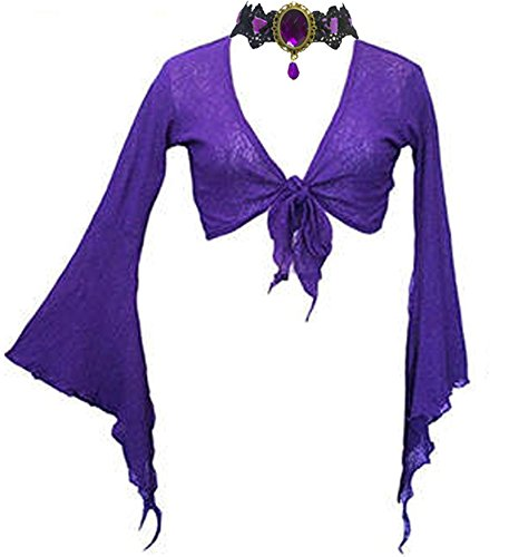 Gothic Cobweb Purple Long Bell Sleeve Tie Bolero Shrug + ...