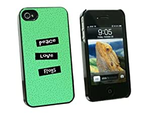 Graphics and More Peace Love Frogs - Snap On Hard Protective Case for Apple iPhone 4 4S - Black - Carrying Case - Non-Retail Packaging - Black