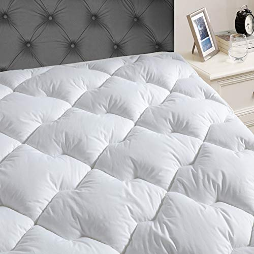 - JEAREY Queen Mattress Pad Cover with 8-21''Deep Pocket - Pillow Top Quilted Mattress Topper Cotton Top with Snow Down Alternative Cooling Overfilled
