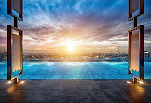 AOFOTO 7X5ft City Landscape Backdrop Sunset Sky Swimming Pool with Sofa Rooftop Bangkok Thailand Tourist Attraction Vinyl Background Adults Portraits Video Display TV Film Production Studio Prop -