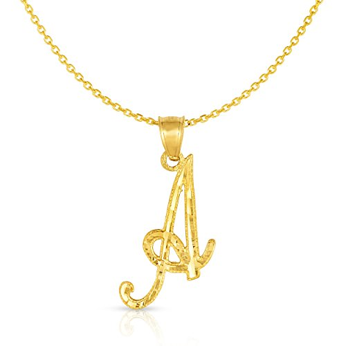 Floreo 10K Yellow Gold Charm Pendant Letter A-Z Personalized Alphabet Initial Name with optional 18 Inch Necklace