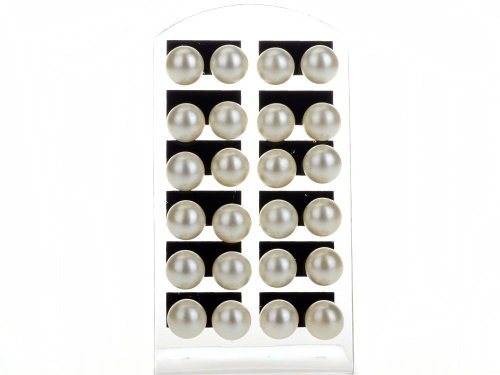 Imixlot 12 Pairs10mm Faux Pearl White Round Ball Stud Earrings Charming Hypoallergenic Ear Studs