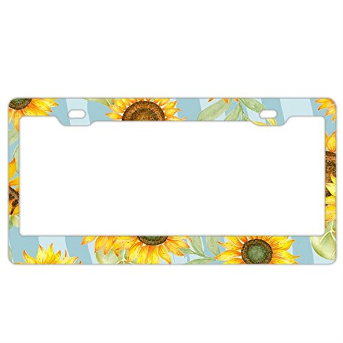 Abstract Sunflowers License Plate Frame - Stainless Steel Metal License Plate Holder For Women, Sunflower Car Tag Frame