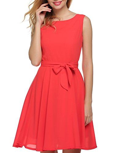 Zeagoo mujer verano gasa a-line sin mangas plisado partido cóctel vestido con cinturón Orange Red