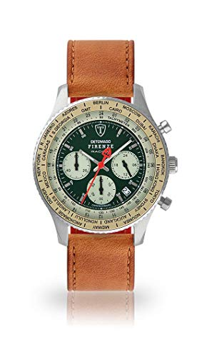 DETOMASO Firenze Mens Watch Chronograph Analogue Quartz Brown Leather Strap Green dial DT1069-B-821
