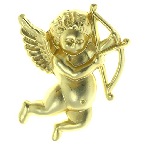 Gold-Tone Metal Cupid Cherub With Bow Brooch-Pin LQP112 ()