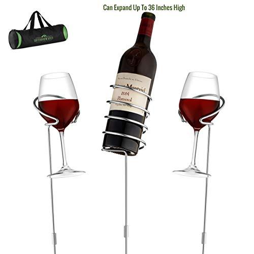 Wine Bottle & Cup Standing Holder Rack  