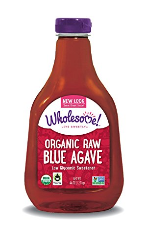 Wholesome Sweeteners Organic Raw Blue Agave, 44 Ounce Bottle (Pack of 2)