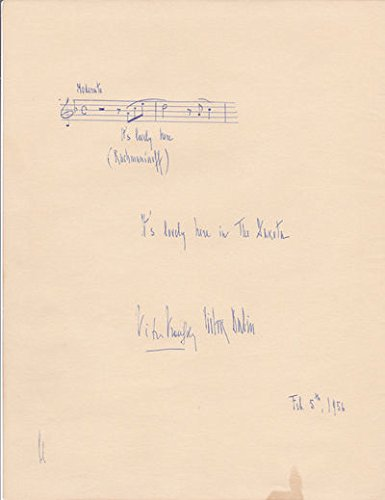 AUTOGRAPH MUSICAL QUOTATION IN VICTOR BABIN'S HAND SIGNED BY DUO PIANO TEAM VRONSKY & BABIN.