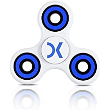 Doc Kinetic Fidget Spinner Prime Widget Toy 3 - 5 Min White and Blue New 2017 Model 606 Hybrid Ceramic Bearing Long Silent Spin ADHD Autism Stress Anti-Anxiety Helps Focusing Learning or Just Relaxing