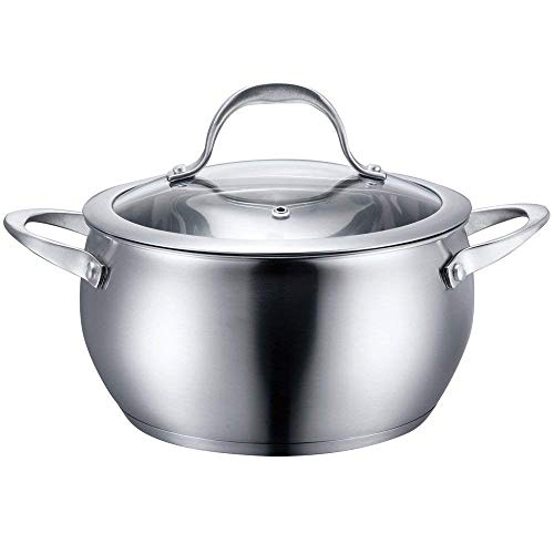 Steel Aluminum Pan Sauce - Stainless Steel Cookware Sauce Pot with Lid (6 Quart)