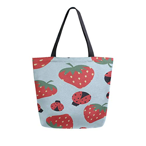 4cacbf65c874 Colorful Strawberry Ladybug Portable Large Double Sided Casual Canvas Tote  Bags Handbag Shoulder Reusable Shopping Bags Duffel Purse For Women Men ...
