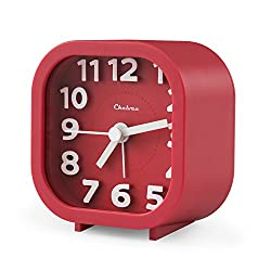 "Alarm Clock, Chelvee 2"" Quartz Analog Travel Alarm Clock with Night Light, Ultra Small, Silent with No Ticking (Red)"
