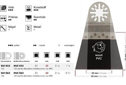 Mit symmetrischer Spitzverzahnung und Sternaufnahme + Das Profi-Zubeh/ör f/ür Ihr oszillierendes Multifunktionswerkzeug passend f/ür Fein Supercu 25 E-Cut S/ägebl/ätter SUI 065 Standard 65 mm preisg/ünstige Markenqualit/ät