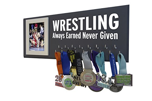 (Running On The Wall Medal Awards Display - Wrestling - Always Earned Never Given - Wrestking Gift Wrestler - Wooden Plaque to Display All Wrestling Awards, Ribbons Medals)
