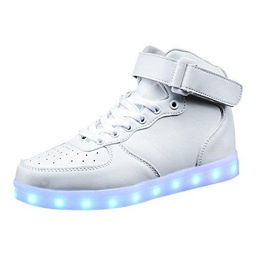 36 De Fluorescentes Colorées Chaussures 11uk Chaussures Recharge 46eu De 3 Danse Usb Conduit Fantômes Chaussures De Sport Luminescents Blanc Eastlion azTqwOAA