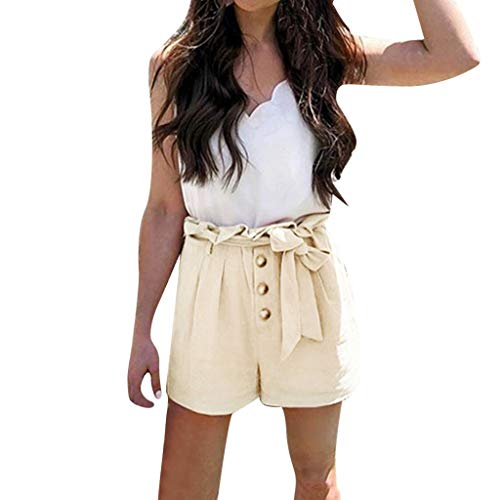 Sunhusing Women's Summer Bow Buckle Shorts Solid Color High Waist Loose Casual Beach Shorts Beige